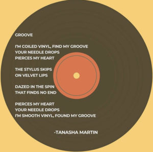 I'm coiled vinyl, find my groove Your needle drops Pierces my heart The stylus skips On velvet lips Dazed in the spin That finds no end Pierces my heart Your needle drops I'm smooth vinyl, found my groove