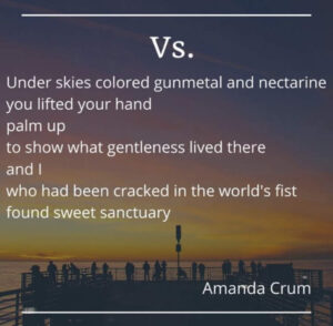 Under skies colored gunmetal and nectarine you lifted your hand palm up to show what gentleness lived there and I who had been cracked in the world's fist found sweet sanctuary